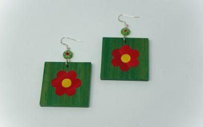 Ohrringe Petites fleurs (grün – rot – gelb)