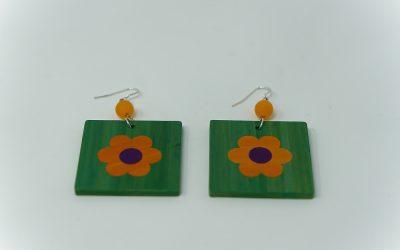 Ohrringe Petites fleurs (grün – orange – lila)