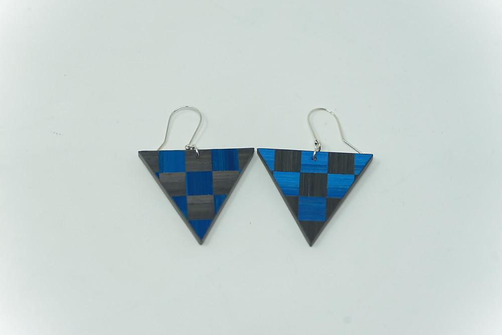 Ohrringe Damier (anthrazit-blau)