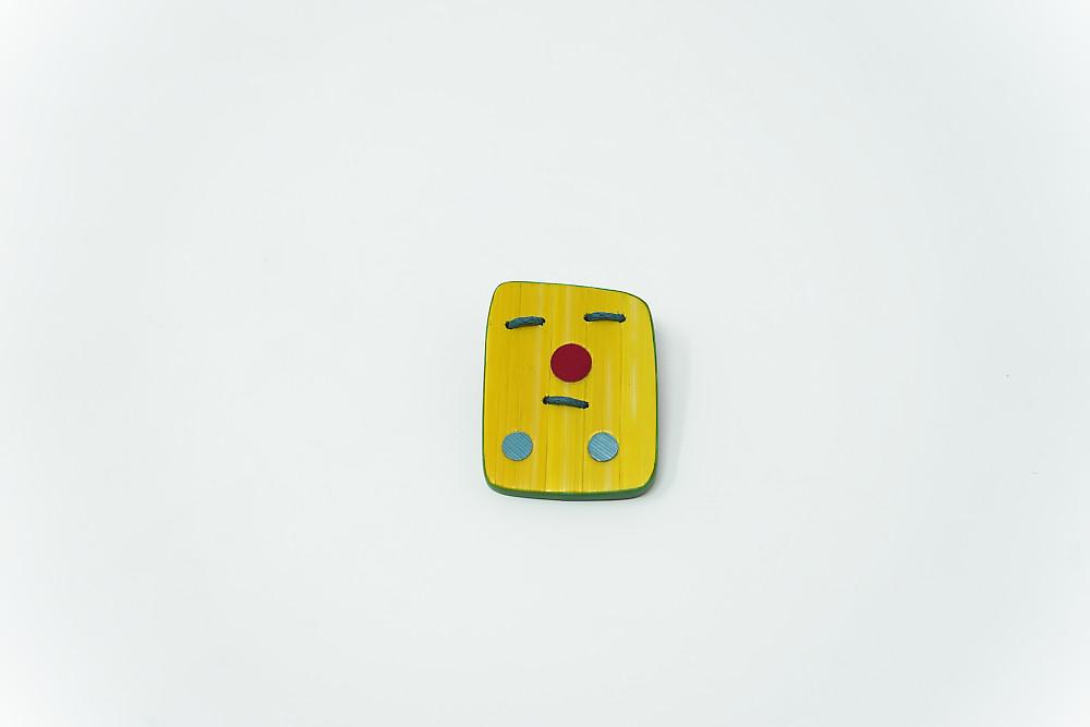 Brosche Trois ronds, trois traits – Marcellin (jaune)